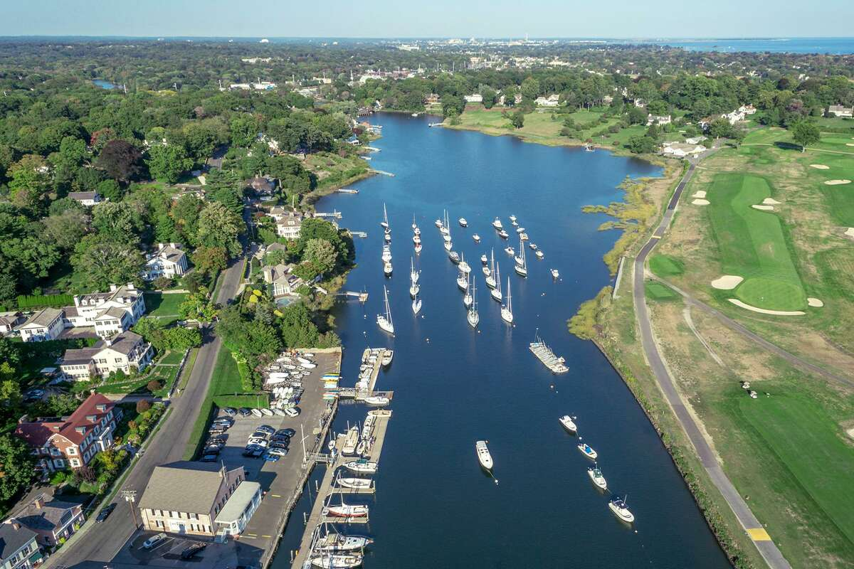 An aerial view of the harbor.