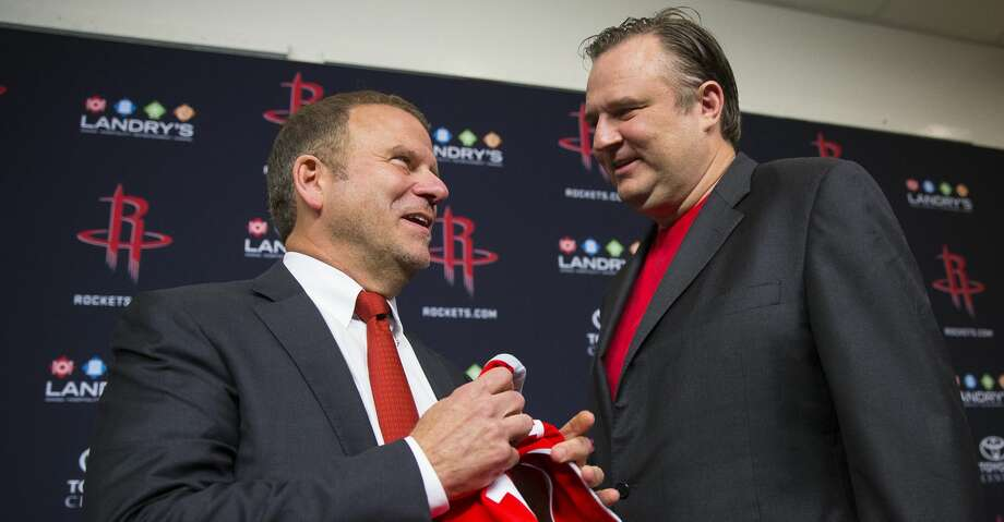 PHOTOS: Rockets vs. Shanghai Sharks Tilman Fertitta, the new owner of the Houston Rockets, poses for pictures with Rockets general manager Daryl Morey following a press conference at Toyota Center, Tuesday, October 10, 2017. (Mark Mulligan / Houston Chronicle) Browse through the photos to see action from the Rockets' first preseason game. Photo: Mark Mulligan/Houston Chronicle