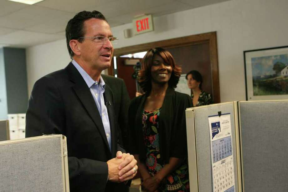 Democratic candidate for Governor, Dan Malloy tours The Workplace, Inc. in Bridgeport on Monday July 26, 2010. Photo: B.K. Angeletti / Connecticut Post