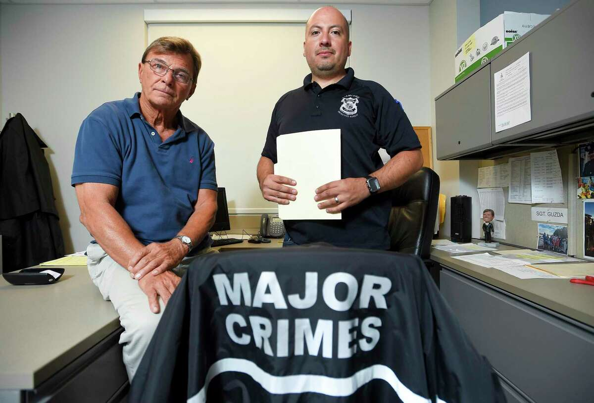 Sgt. Paul Guzda and Investigator Luis Serna are photograph on Oct. 3, 2019. Guzda and his squad of investigators at the Stamford Police Department are the most successful at solving serious crimes in SPD's Bureau of Criminal Investigations. In just 40 hours last week the squad put down one of the most brutal murders that Stamford has had in years.