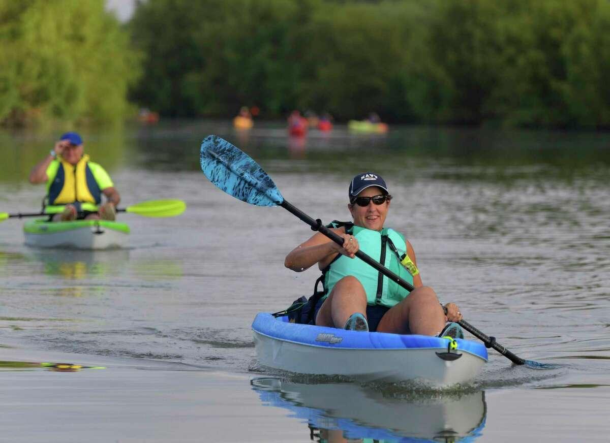 Kayakers enjoy the San Antonio River Walk Mission Reach Paddling Trail on Saturday, Oct. 5, 2019.