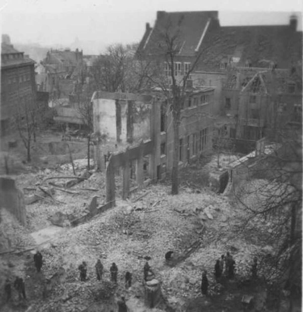 An image shows the destruction of the Dutch city of Nijmegen following bombardments and heavy fighting as U.S. and Allied troops in September 1944 drove the German army out of the strategic city at the confluence of three river near the German border (Photo courtesy of Anja Adriaans)