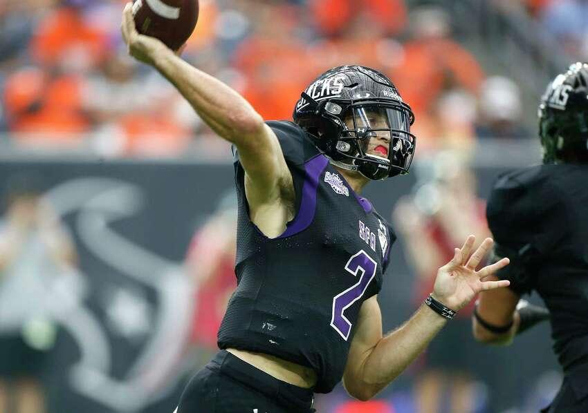 Stephen F. Austin Lumberjacks quarterback Trae Self (2) throws the ball during Battle of the Piney Woods at NRG Stadium against Sam Houston State on Saturday, Oct. 5, 2019.