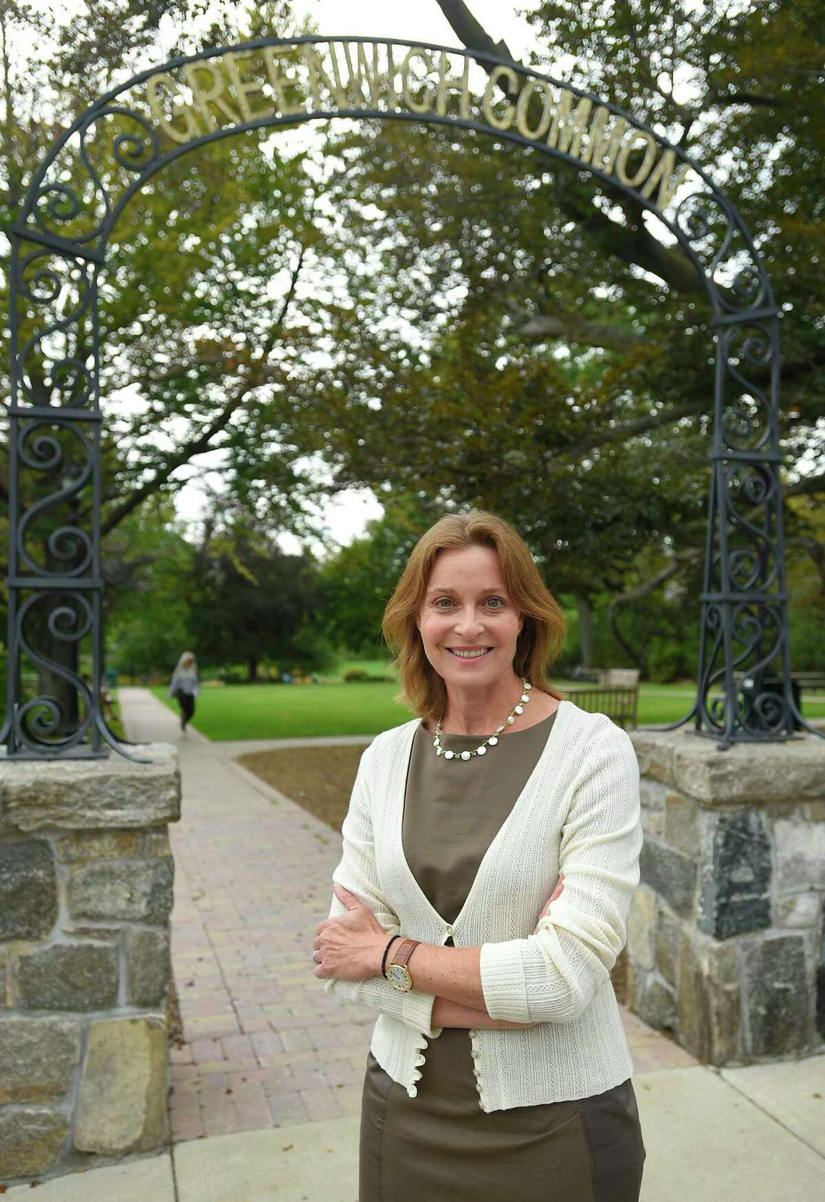 BET chair Jill Oberlander, the Democratic candidate for first selectman, in Greenwich on Sept. 5.