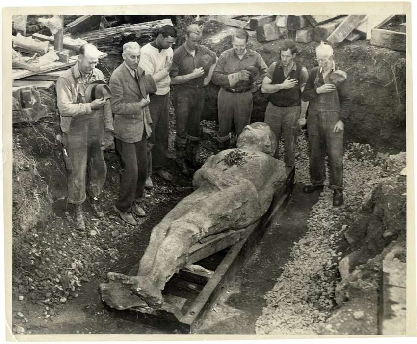 The Cardiff Giant created a sensation after it was found in 1869. It eventually came to the Farmers' Museum in Cooperstown in the 1940s. The museum plans a 150th celebration for ths discovery on Oct. 16. (Courtesy The Farmers' Museum)