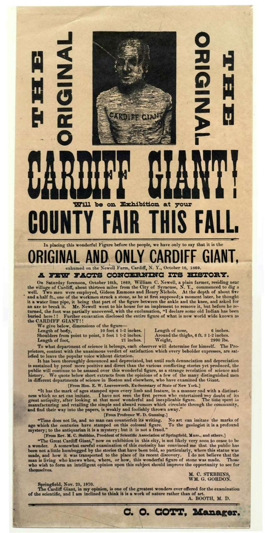 Broadside calling attention to a diusplay fo the Cardiff Giant (Courtesy The Farmers' Museum)