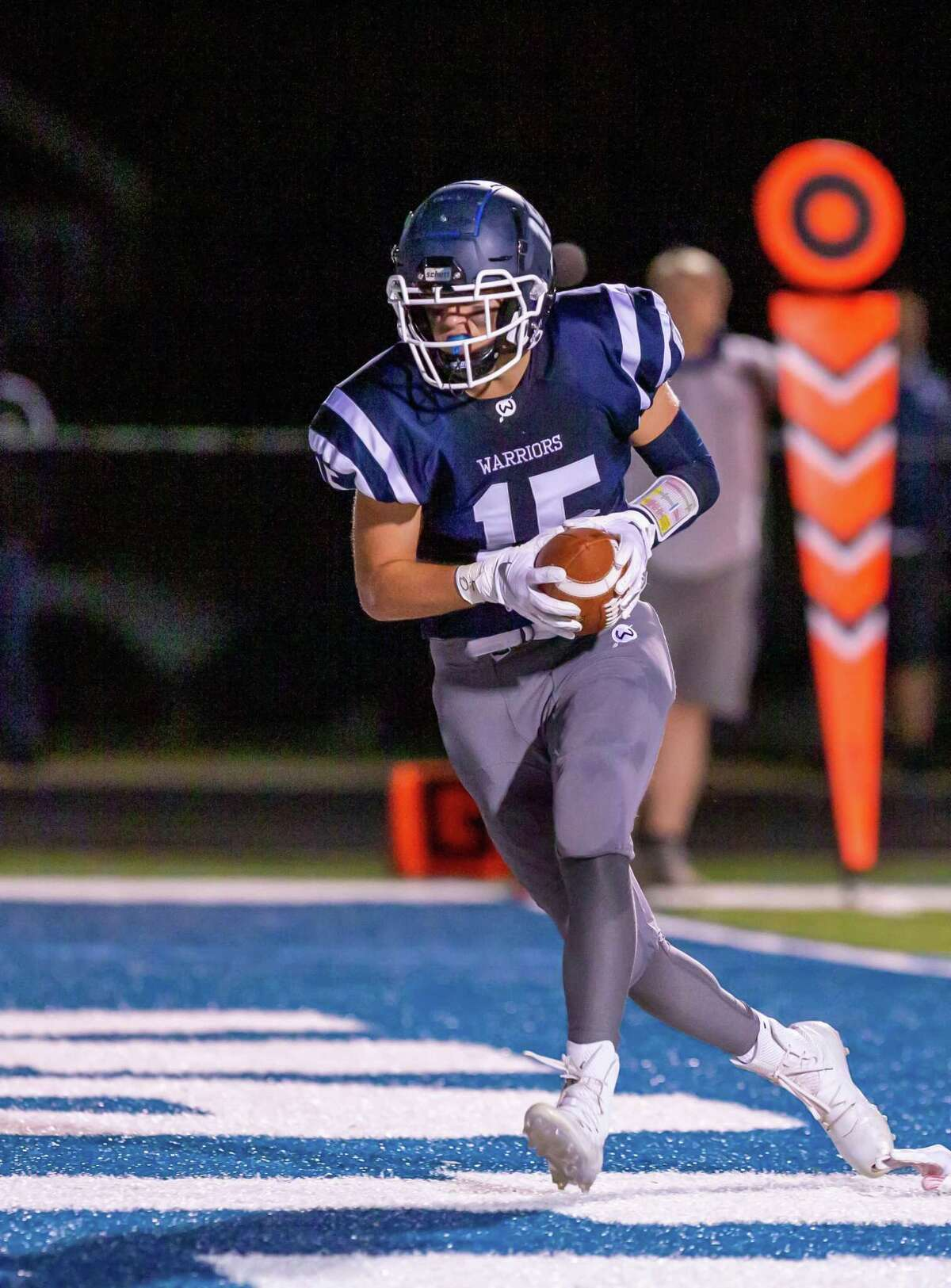 Kyle Hyzy caught two touchdown passes in Wilton's 42-6 win over Fairfield Warde,