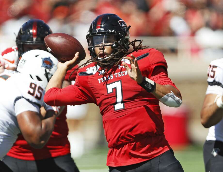 Texas Tech's Jett Duffey (7) passes the ball during the second half of an NCAA college football game against Oklahoma State, Saturday, Oct. 5, 2019, in Lubbock. (AP Photo/Brad Tollefson) Photo: Brad Tollefson,  Associated Press / Copyright 2019 The Associated Press. All rights reserved.