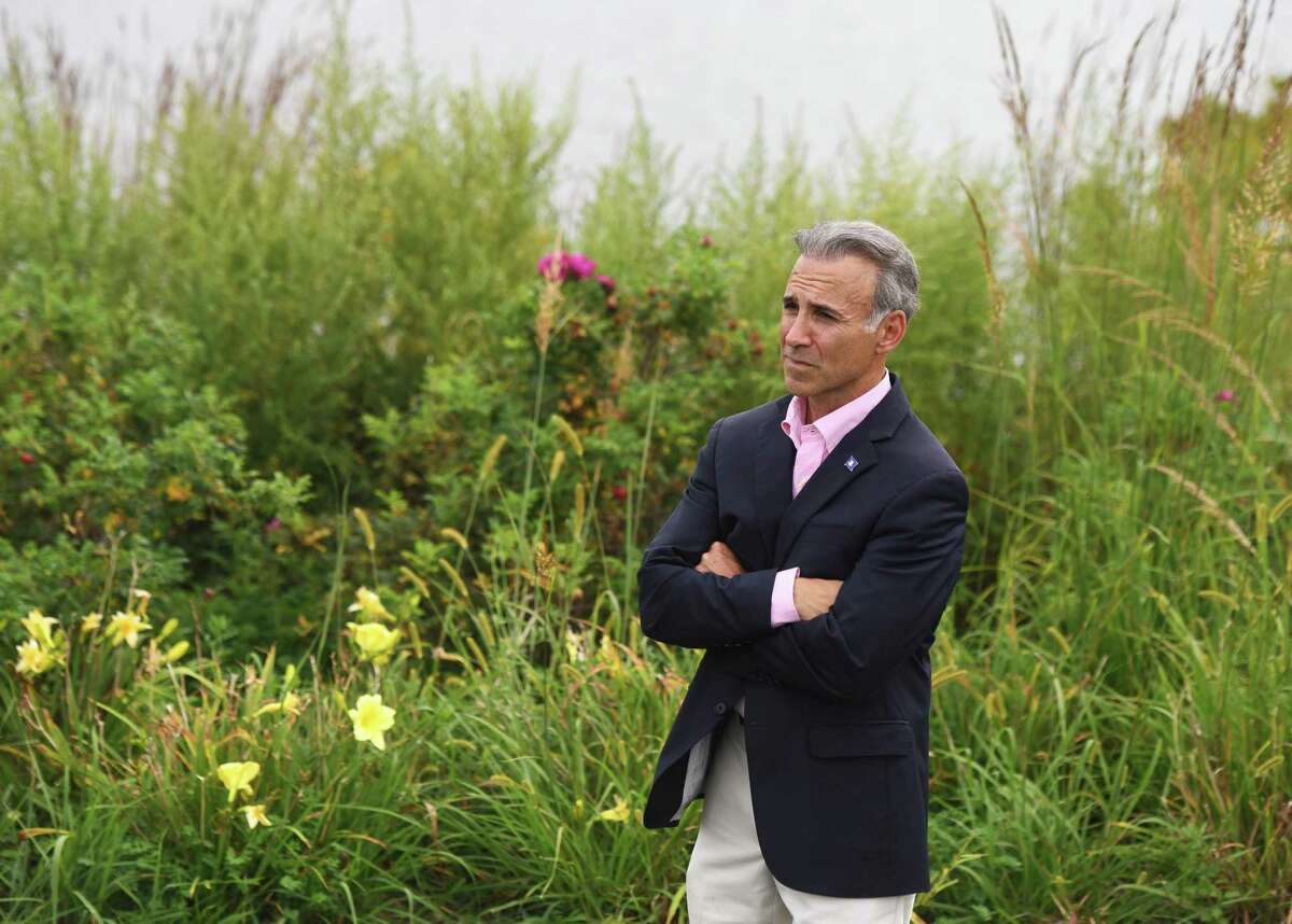 State Rep. Fred Camillo, a Republican candidate for First Selectman, poses at Cos Cob Park in the Cos Cob section of Greenwich, Conn. Thursday, Sept. 5, 2019.