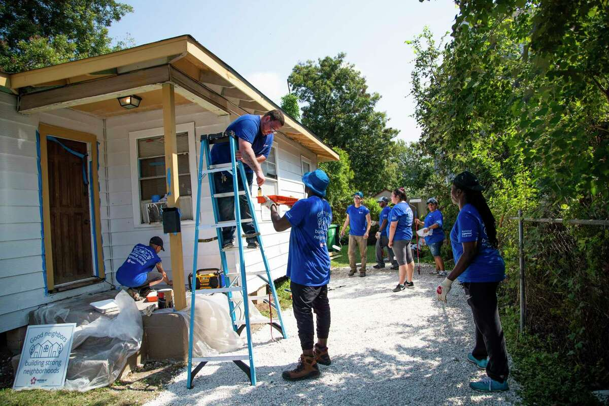 Republic Services employees in partnership with Avenue, volunteer in working repairs on a home near the north side of Houston on Saturday, Oct. 5, 2019.