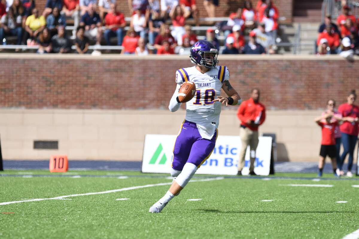 UAlbany quarterback Jeff Undercuffler looks for an open receiver against Richmond in their game Saturday, Oct. 5, 2019, at Robins Stadium in Richmond, Va. (Courtesy of Keith Lucas / Richmond Athletics)