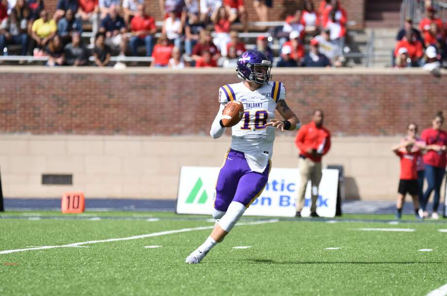 UAlbany quarterback Jeff Undercuffler looks for an open receiver against Richmond in their game Saturday, Oct. 5, 2019, at Robins Stadium in Richmond, Va. (Courtesy of Keith Lucas / Richmond Athletics) Photo: Courtesy Of Keith Lucas / Richmond Athletics