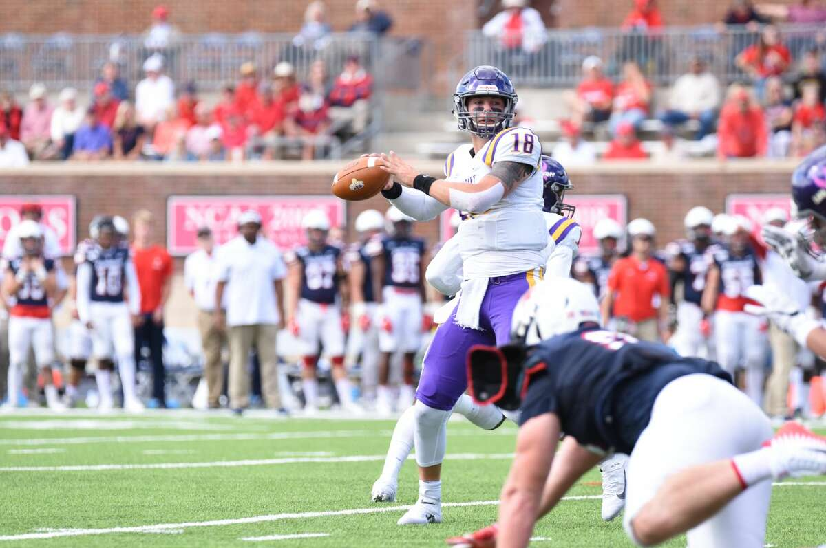 UAlbany quarterback Jeff Undercuffler throws a pass on the run against Richmond in their game Saturday, Oct. 5, 2019, at Robins Stadium in Richmond, Va. (Courtesy of Keith Lucas / Richmond Athletics)