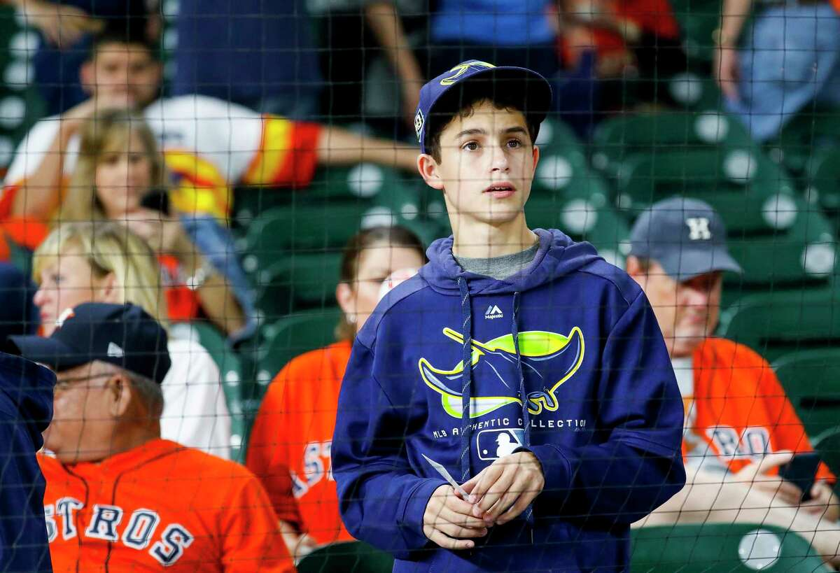 Rays fans watching batting practice before Game 2 of the American League Division Series at Minute Maid Park on Saturday, Oct. 5, 2019, in Houston.