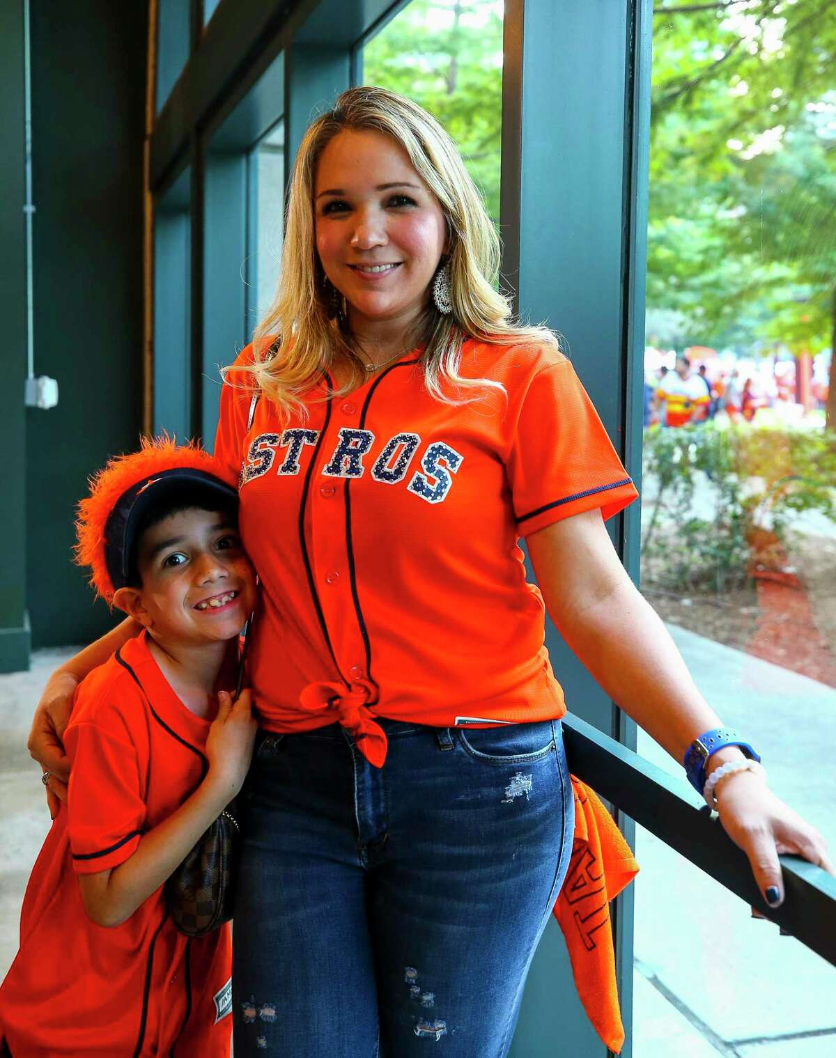 Houston Astros fans before Game 2 of the American League Division Series at Minute Maid Park on Saturday, Oct. 5, 2019, in Houston.