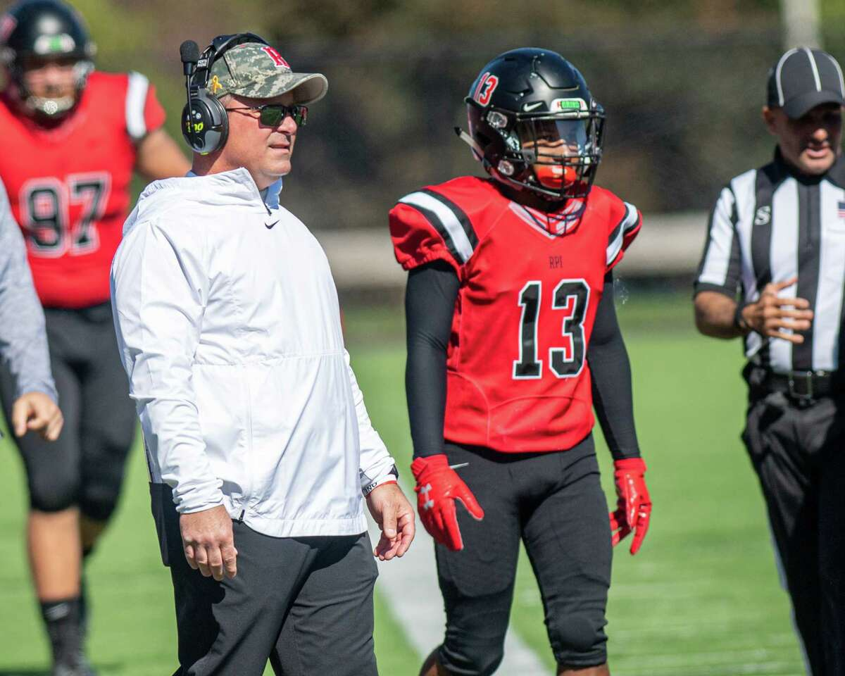 RPI head coach Ralph Isernia during a game against the University of Rochester at the RPI East Campus Stadium on Saturday, Oct. 5, 2019 (Jim Franco/Special to the Times Union.)