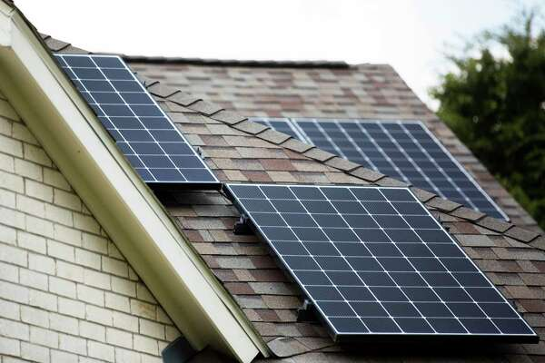 Solar panel on the roof of Jose Flores' home on Saturday, Oct. 5, 2019, in Clear Creek. Flores has acquired 46 solar panels and two Tesla powerwalls.