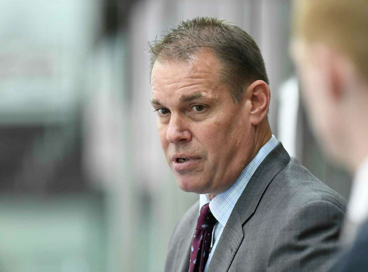Union head coach Rick Bennett instructs his players against Boston University during the second period of an NCAA college Hockey home opener game Saturday, Oct. 5, 2019, in Schenectady, N.Y.