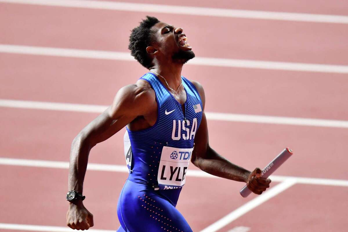 Noah Lyles of the United States reacts after winning the men's 4x100 meter relay final during the World Athletics Championships in Doha, Qatar, Saturday, Oct. 5, 2019. (AP Photo/Martin Meissner)