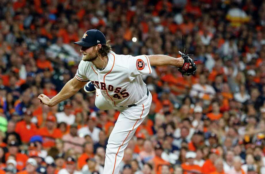 Houston Astros starting pitcher Gerrit Cole (45) pitches during the first inning of Game 2 of the American League Division Series at Minute Maid Park on Saturday, Oct. 5, 2019, in Houston. Photo: Karen Warren, Staff Photographer / © 2019 Houston Chronicle