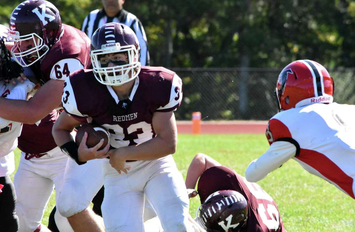 Killingly's Jack Sharpe runs the ball against Fitch at Killingly high school on Saturday, Oct. 5, 2019. (Pete Paguaga, Hearst Connecticut Media)