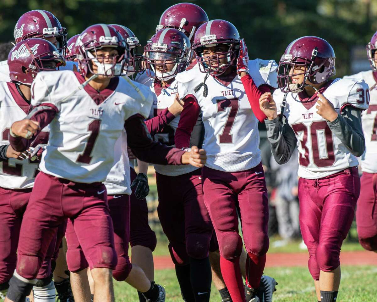 Watervliet players celebrate after beating Voorheesville at Voorheesville High School on Saturday, Oct. 5, 2019 (Jim Franco/Special to the Times Union.)