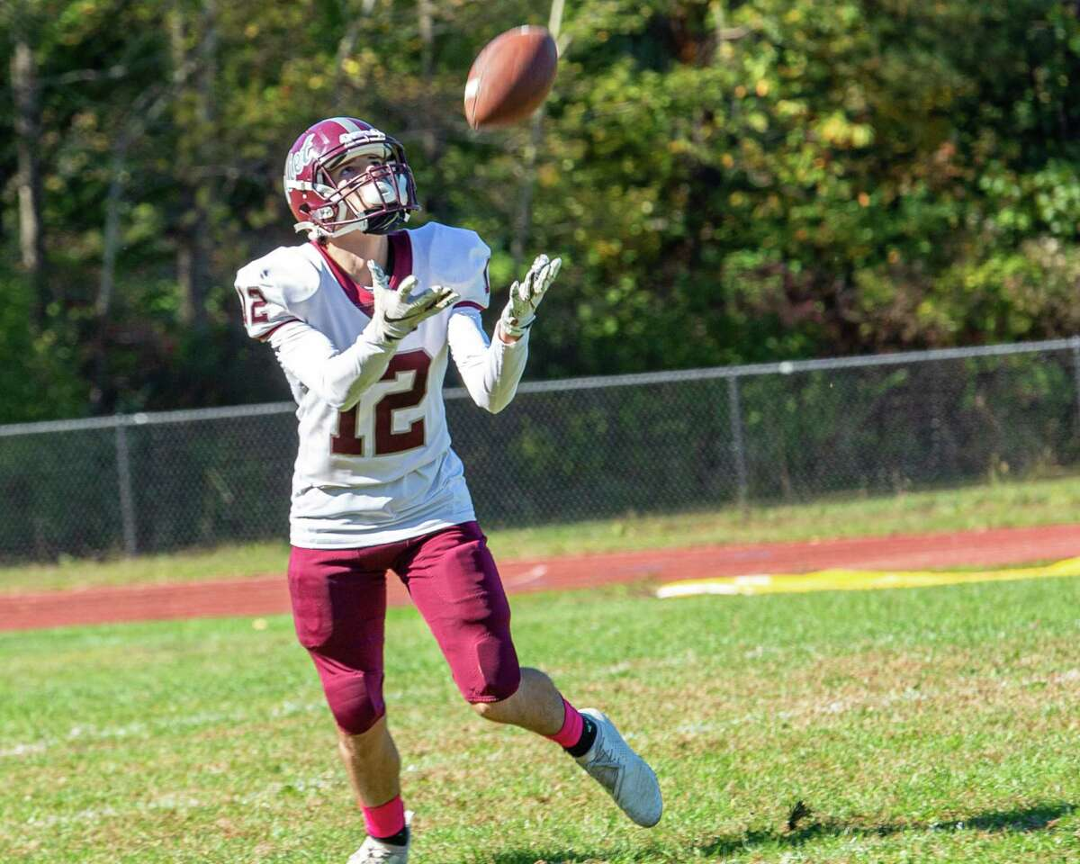 Watervliet special teams player Dom Rogalo catches the kickoff to start the second half against Voorheesville at Voorheesville High School on Saturday, Oct. 5, 2019 (Jim Franco/Special to the Times Union.)