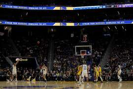 Omari Spellman (4) puts up and three pointer In the second half as the Golden State Warriors played the Los Angeles Lakers in a pre-season game at Chase Center in San Francisco, Calif., on Saturday, October 5, 2019.