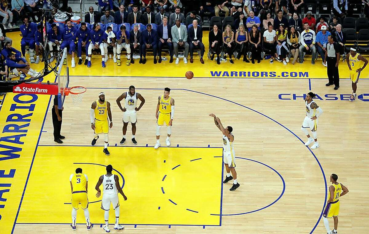 Juan Toscano-Anderson (95) takes a free throw In the second half as the Golden State Warriors played the Los Angeles Lakers in a pre-season game at Chase Center in San Francisco, Calif., on Saturday, October 5, 2019.