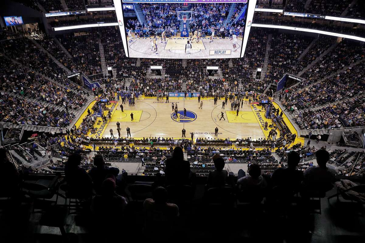An overhead view of the new arena during the first half as the Golden State Warriors played the Los Angeles Lakers in a pre-season game at Chase Center in San Francisco, Calif., on Saturday, October 5, 2019.