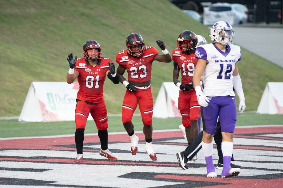 Lamar's offense celebrates Kirkland Banks' touchdown in the first-quarter against ACU at Provost Umphrey Stadium on Saturday night. Photo: Noah Dawlearn/ Special To The Enterprise