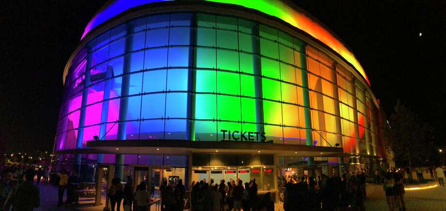 Smart Financial Centre at Sugar Land was awash in rainbow for J Balvin's show. Photo: Joey Guerra