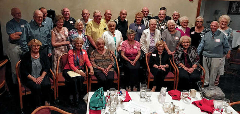 Jacksonville High School's Class of 1954 reunited Sept. 28 at Jacksonville Country Club. Those attending included: Janet Wood (front row, from left), Carol Ikelman, Mary Dobbs, Pearl Baker, Wilma Heckenkamp, Betty Still and Gene Tranbarger; Lee Bridgeman (second row, from left), Ann Hoagland, Shirley Gish, Joe Wilson, Mildred Wilson, Ruth Finch, Sharon Kelly, Nancy Long, Prudy Ballard and Frances Giavenco; and Wayne Hayes (third row, from left), Bob Stansfield, Larry Hamel, Jim Barber, Ray Trowbridge, Jim Bote, Beverly Segal, Ron Stansfield, Don May; Bill Townslay (back row, from left) and David Hicks. Not pictured was Janet Craven. Photo: Photo Provided