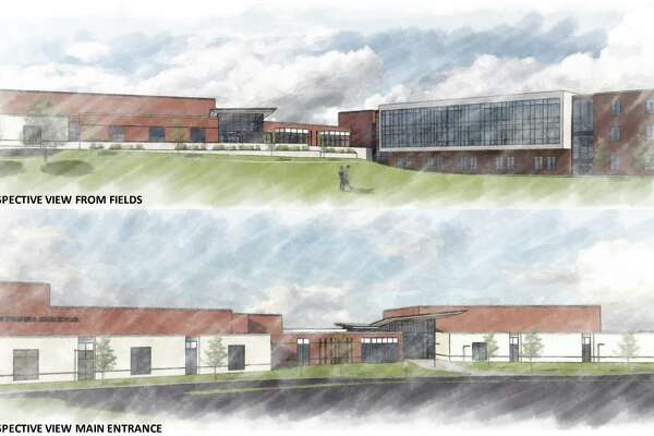 Renderings of the proposed new New Fairfield High School.