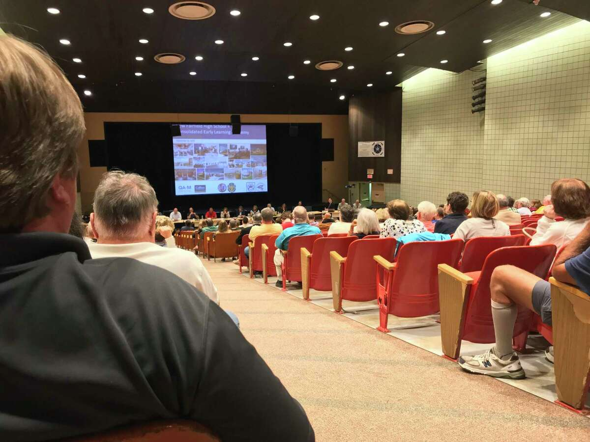 New Fairfield taxpayers gathered inside the auditorium of New Fairfield High School for the Board of Education's public hearing the evening of Sept. 16, 2019.