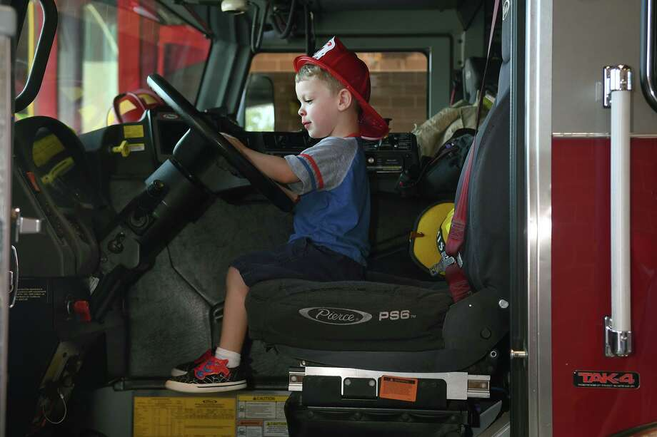 Jaxon Bruce, 3 1/2, tries out the driver's seat on Engine 74 during the grand opeing of Station 74, located at 23803 Aldine Westfield on Oct.5, 2019. Photo: Jerry Baker, Houston Chronicle / Contributor / Houston Chronicle