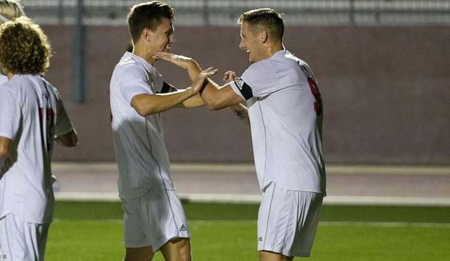 Lachlan McLean celebrates a goal with Colin Hilpert on Saturday in SIUE's home win over Valpo. Photo: SIUE