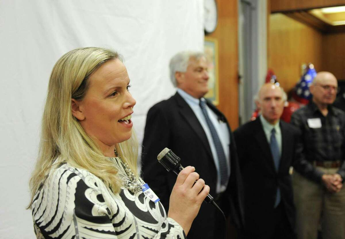Democratic Board of Education candidate Meghan Olsson thanks her supporters at the Greenwich Democrats Election Night Party at the Senior Center in Greenwich, Conn. Tuesday, Nov. 7, 2017. Democrats Meghan Olsson and Kathleen Stowe ran unopposed for the Democratic spots on the Board of Education.