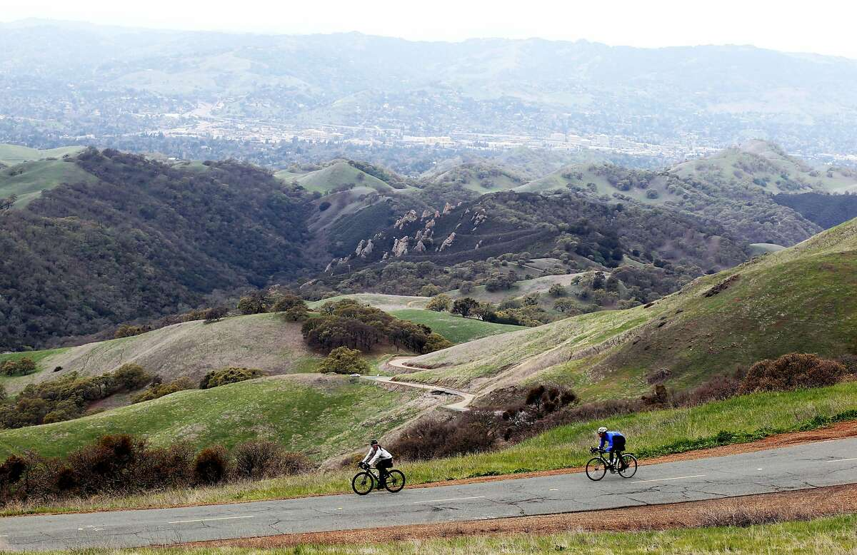 Cyclists make their way down from the from Mt Diablo State Park summit Saturday, March 17, 2012, in Walnut Creek, Calif.