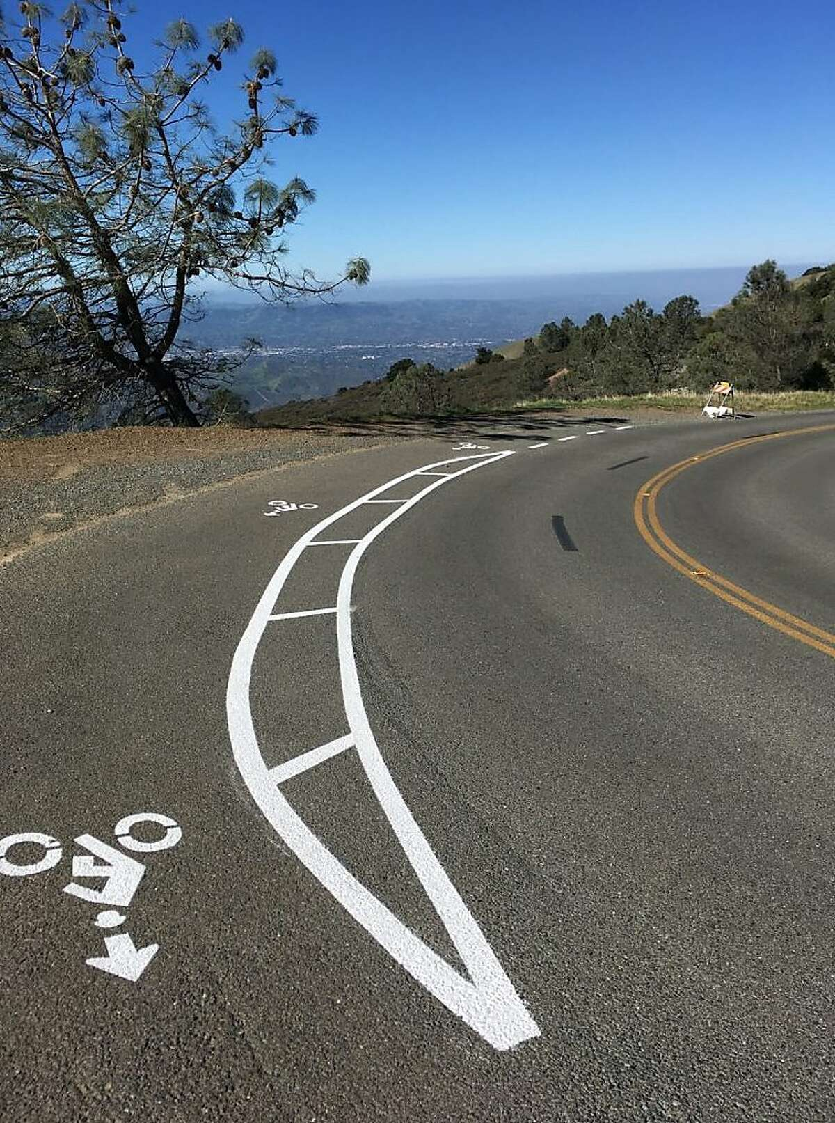 A prototype of one of the first bicycle turnouts on the road to the Mount Diablo Summit to allow cyclists grinding uphill a safe way for vehicles to pass
