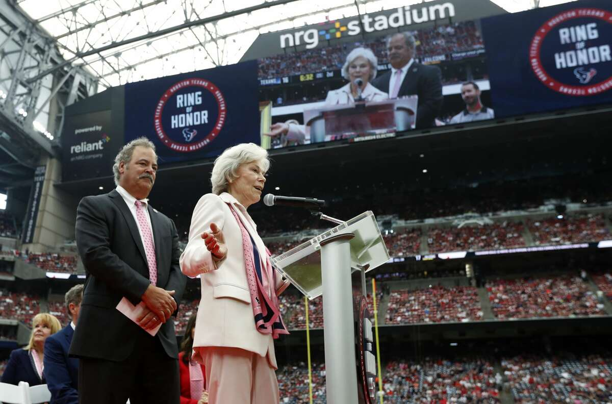 Houston Texans co-founder Janice McNair speaks during the induction of her husband Robert C. McNair into the ring of honor during the halftime of an NFL football game at NRG Stadium on Sunday, Oct. 6, 2019, in Houston.