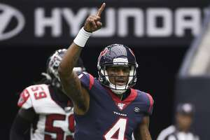 Houston Texans quarterback Deshaun Watson (4) celebrates a play against the Atlanta Falcons during the second half of an NFL football game Sunday, Oct. 6, 2019, in Houston. (AP Photo/Eric Christian Smith)