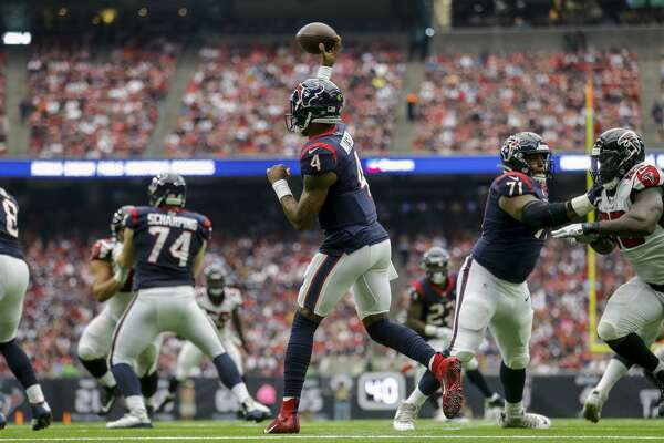 Houston Texans quarterback Deshaun Watson (4) throws the ball against the Atlanta Falcons during the second quarter of an NFL football game at NRG Stadium Sunday, Oct. 6, 2019, in Houston.