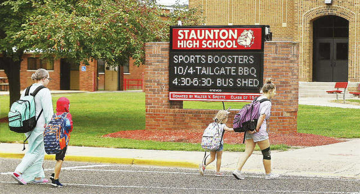 Students head into Staunton High School, and the adjacent elementary school, this week where they were dressed up for an annual homecoming week event.