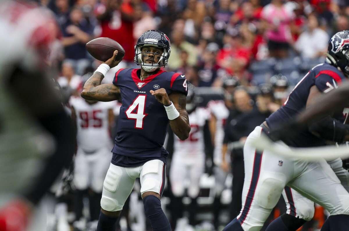 Houston Texans quarterback Deshaun Watson (4) throws the ball against the Atlanta Falcons during the third quarter of an NFL football game at NRG Stadium Sunday, Oct. 6, 2019, in Houston.