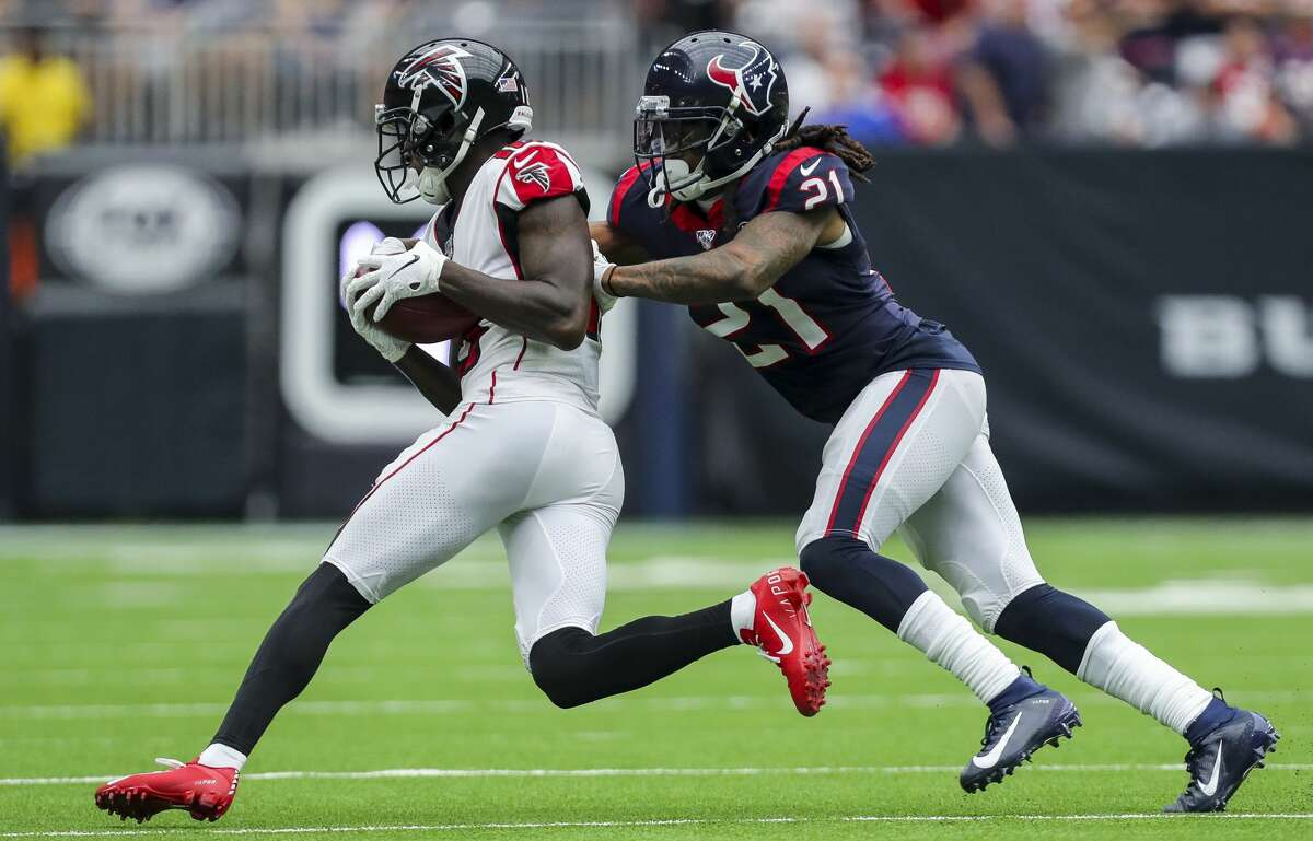 PHOTOS: Texans vs. Jaguars in London Houston Texans cornerback Bradley Roby (21) tackles Atlanta Falcons wide receiver Calvin Ridley (18) during the third quarter of an NFL football game at NRG Stadium Sunday, Oct. 6, 2019, in Houston. >>>See more photos from the Texans' win at Wembley Stadium on Sunday ...