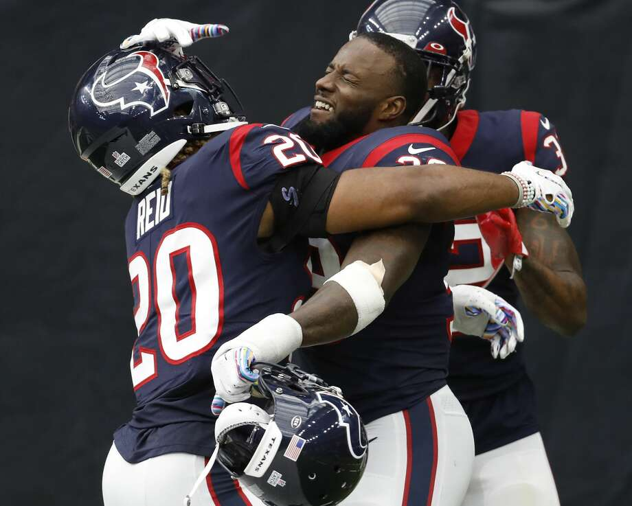 PHOTOS: Texans vs. Falcons  Houston Texans free safety Tashaun Gipson (39) and strong safety Justin Reid (20) celebrates Gipson's interception return for a touchdown against the Atlanta Falcons during an NFL football game at NRG Stadium on Sunday, October 6, 2019, in Houston. >>>See more photos from the Texans' win against the Falcons on Sunday ...  Photo: Brett Coomer/Staff Photographer