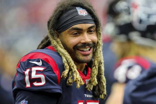 Houston Texans wide receiver Will Fuller (15) smiles in the sidelines during the fourth quarter of an NFL football game against the Atlanta Falcons at NRG Stadium Sunday, Oct. 6, 2019, in Houston.