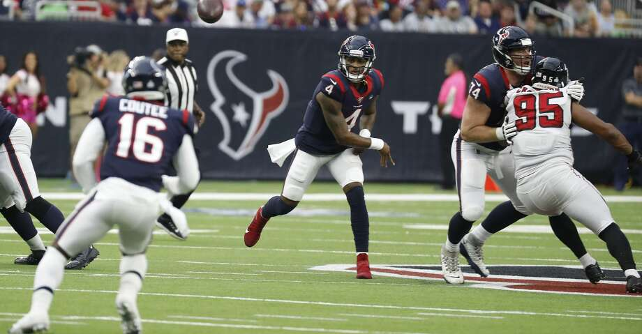 PHOTOS: Texans vs. Falcons  Houston Texans quarterback Deshaun Watson (4) throws a pass to wide receiver Keke Coutee (16) during an NFL football game against the Atlanta Falcons at NRG Stadium on Sunday, Oct. 6, 2019, in Houston. >>>See more photos from the Texans' win over the Falcons on Sunday ...  Photo: Brett Coomer/Staff Photographer