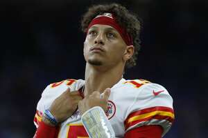 Kansas City Chiefs quarterback Patrick Mahomes watches during an NFL football game against the Detroit Lions in Detroit, Sunday, Sept. 29, 2019. (AP Photo/Paul Sancya)